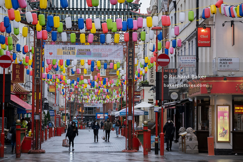 The day after the government introduced a third Coronavirus pandemic national lockdown, effectively a Tier 5 restriction, Chinatown's Gerrard Street remain quiet as the capital experiences a grim post-Christmas and millions of Britons are told to stay at home, on 5th January 2021, in London, England.