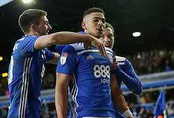 Birmingham City's Che Adams celebrates scoring the 2nd goal against Nottingham Forest from the penalty spot during the match at St Andrew's Trillion Trophy Stadium with team mates and brothers Gary Gardner and Craig Gardner