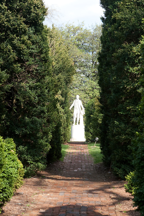A statue of James Monroe, on the grounds of his home, Ash Lawn Highland