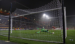Conor O'Malley of Peterborough United saves the penalty that won the penalty shoot-out - Mandatory by-line: Joe Dent/JMP - 11/12/2018 - FOOTBALL - Northern Commercials Stadium - Bradford, England - Bradford City v Peterborough United - Emirates FA Cup second round proper