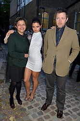 Left to right, TANYA LING, BIP LING and WILLIAM LING at a private view in aid of Chickenshed of Julian Schnabel's first UK solo show of paintings for 15 years entitled 'Every Angel Has A Dark Side' held at the Dairy Art Centre, 7a Wakefield Street, Bloomsbury, London on 24th April 2014.