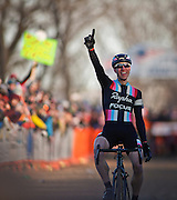 SHOT 1/12/14 4:42:53 PM -  Jeremy Powers (#3) of Easthampton, Ma. celebrates as he crosses the finish line in the Men's Elite race at the 2014 USA Cycling Cyclo-Cross National Championships at Valmont Bike Park in Boulder, Co. Powers won the event with a time of 59:16.  (Photo by Marc Piscotty / © 2014)