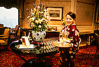 Hostess serving champagne in the 34th floor Club Lounge, Ritz-Carlton Osaka, Osaka, Japan