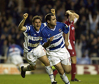Copyright Sportsbeat. 0208 3926656<br />Picture: Henry Browne<br />Date: 18/04/2003<br />Reading v Nottingham Forest Nationwide First Division<br />Andy Hughes celebrates after scoring for Reading with Nicky Forster behind
