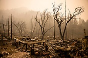 The remains of the guest houses at Calistoga Ranch are still smoldering after the Glass Fire passed through in Napa Valley, CA on September 30, 2020. Much of the Ranch has been destroyed by the wildfire which is approaching 50,000 acres and remains at only 2% containment.
