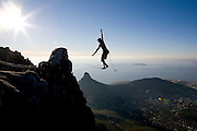 Warren Gans from Cape Town becomes the first person to Slackline across the 150 metre wide Union Ravine on Table Mountain over 1,000 metres above the sea below. Picture by Greg Beadle Greg Beadle catches a fresh angle on interesting subjects. Art photography by Beadle Photo