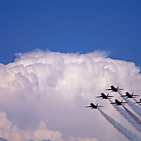"""U.S Navy """"Blue Angels"""" precision flying team performs at air show in Bozeman, Montana."""