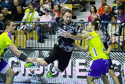 Nemanja Pribak #8 of Besiktas and Blaz Janc #8 of RK Celje Pivovarna Lasko during handball match between RK Celje Pivovarna Lasko (SLO) and Besiktas J.K. (TUR)  in 14th Round of EHF Men's Champions League 2015/16, on March 5, 2016 in Arena Zlatorog, Celje, Slovenia. (Photo by Ziga Zupan / Sportida)