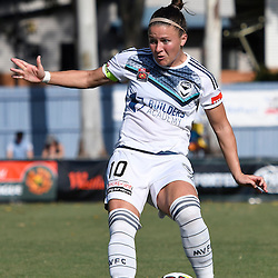 BRISBANE, AUSTRALIA - JANUARY 1: Christine Nairn of the Victory passes the ball during the round 10 Westfield W-League match between the Brisbane Roar and Melbourne Victory at AJ Kelly Park on January 1, 2017 in Brisbane, Australia. (Photo by Patrick Kearney/Brisbane Roar)