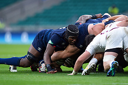 Maro Itoje of England in action at a scrum - Mandatory byline: Patrick Khachfe/JMP - 07966 386802 - 14/11/2020 - RUGBY UNION - Twickenham Stadium - London, England - England v Georgia - Autumn Nations Cup