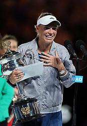 MELBOURNE, Jan. 27, 2018  Denmark's Caroline Wozniacki gives a speech during the awarding ceremony of the women's singles final match against Romania's Simona Halep at Australian Open 2018 in Melbourne, Australia, Jan. 27, 2018. (Credit Image: © Li Peng/Xinhua via ZUMA Wire)