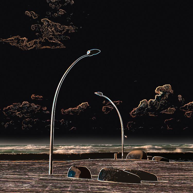 Beach promenade in Tel-Aviv lamp posts