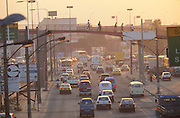 TRAFFIC POLLUTION. Rio de Janeiro, Brazil, South America. Heavy traffic in Rio de Janeiro, Brazil's capital. Traffic congestion and high pollution levels cause illness. The most visible consequences of air pollution is smog, the effects of this environmental problem are more devastating than what simply meets the eye. Breathing in these chemicals daily is damaging the body causing serious health problems to people and especially children and babies. Asthma attacks can be triggered by high levels of air pollution. The health condition asthma can also be caused by air pollution. asthma attacks set off by pollutants are one of the largest causes of air pollution related death  in America