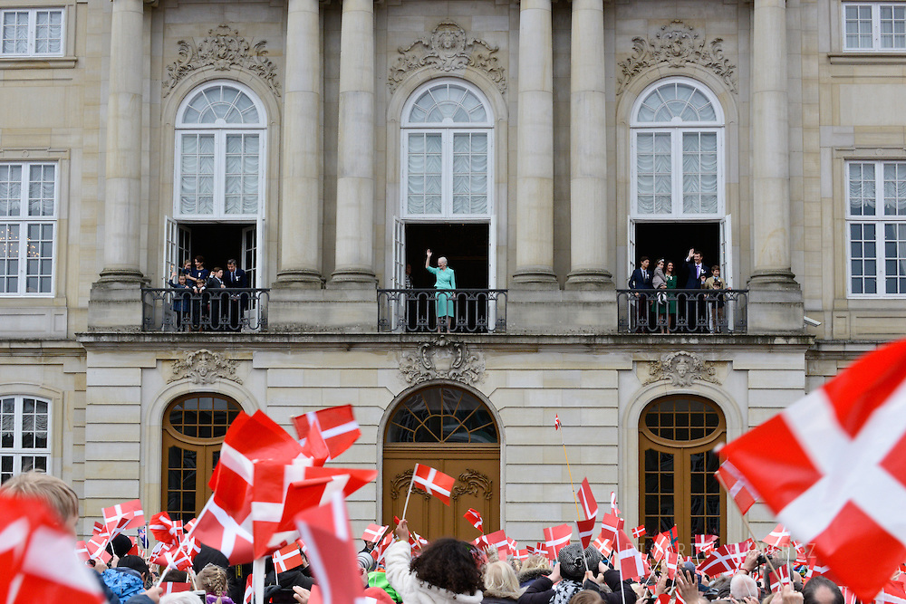 16.04.2015. Copenhagen, Denmark.<br /> Queen Margrethe II celebrates her 75th birthday with her whole family, (L), Crown Prince Frederik, Crown Princess Mary, Princess Josephine, Princess Isabella, Prince Vincent and Prince Christian. (R), Prince Vincent, Prince Christian, Prince Nikolai, Prince Felix, Prince Henrik, Princess Athena Prince Joachim Princesa Marie and Princess Josephine wave on the balcony of Amalienborg Palace.<br /> Photo:© Ricardo Ramirez