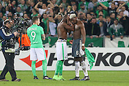 Brothers Saint-Etienne Defender Florentin Pogba and Paul Pogba Midfielder of Manchester United hug each other during the Europa League match between Saint-Etienne and Manchester United at Stade Geoffroy Guichard, Saint-Etienne, France on 22 February 2017. Photo by Phil Duncan.