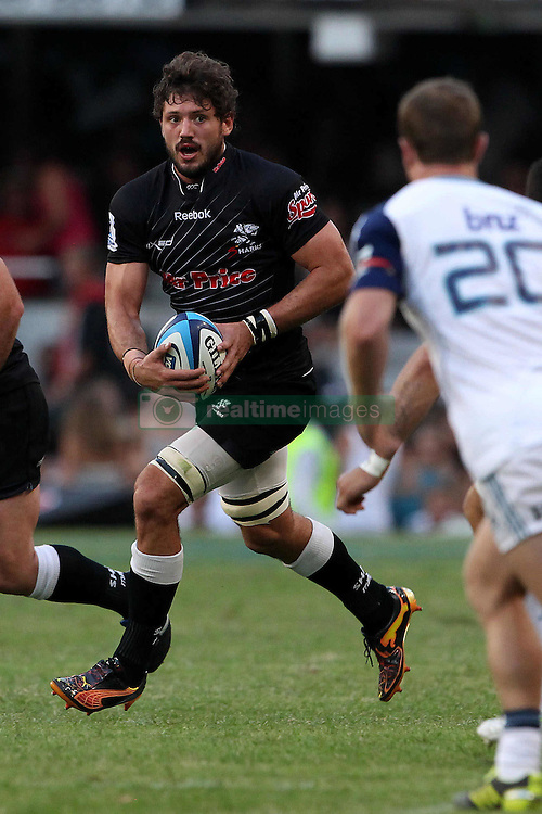 Ryan Kankowski of The Sharks attacks during the Super15 match between The Mr Price Sharks and The Blues held at Mr Price Kings Park Stadium in Durban on the 26th February 2011..Photo By:  Ron Gaunt/SPORTZPICS