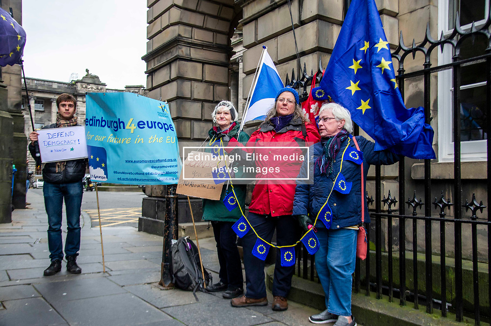 Pictured: <br />Protestors gathered ahead of the decision which is expected in case of campaigners seeking courts to force Article 50 extension. Campaigners are seeking a court order to force the Prime Minister to ask the EU for an extension to Article 50 if he fails to get a new deal passed at Westminster by October 19. Judge Lord Pentland was expected to announce his decision on the case at lunchtime.<br />Ger Harley | EEm 7 October 2019