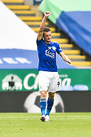 LEICESTER, ENGLAND - JULY 04: Jamie Vardy of Leicester City (left) celebrates after scoring his sides his first goal and his sides second during the Premier League match between Leicester City and Crystal Palace at The King Power Stadium on July 4, 2020 in Leicester, United Kingdom. Football Stadiums around Europe remain empty due to the Coronavirus Pandemic as Government social distancing laws prohibit fans inside venues resulting in all fixtures being played behind closed doors. (Photo by MB Media)