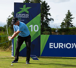 Gleneagles, Scotland, UK; 7 August, 2018.  Practice day at Gleneagles for the European Championships 2018. Callum Shinkwin the shot at the 10th
