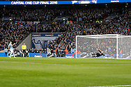 Sergio Aguero of Manchester City scores his penalty in the penalty shoot out. Capital One Cup Final, Liverpool v Manchester City at Wembley stadium in London, England on Sunday 28th Feb 2016. pic by Chris Stading, Andrew Orchard sports photography.