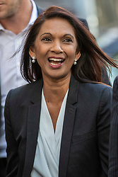 © Licensed to London News Pictures. 19/09/2019. London, UK. Gina Miller arrives at the Supreme Court in London for the third day of the hearing into the legality of the prorogation of Parliament. The case has been brought by remain campaigner Gina Miller, with support from former British Prime Minister John Major. Photo credit: Rob Pinney/LNP