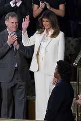 January 30, 2018 - Washington, District Of Columbia, U.S.- First Lady MELANIA TRUMP enters the Senate Chamber prior to the State Of The Union Address delivered by United States President DONALD J. TRUMP at the United States Capitol. (Credit Image: © Alex Edelman via ZUMA Wire)