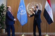 President of Yemen, Abdrabuh Mansour Hadi Mansour,  with United Nations Secretary General Ban Ki moon.