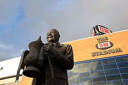 A general view of the Dave Whelan statute outside the DW Stadium, home of Wigan Athletic - Mandatory by-line: Joe Dent/JMP - 20/10/2020 - FOOTBALL - DW Stadium - Wigan, England - Wigan Athletic v Peterborough United - Sky Bet League One