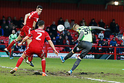 2-1, goal scored by Joe Pigott of Wimbledon during the EFL Sky Bet League 1 match between Accrington Stanley and AFC Wimbledon at the Fraser Eagle Stadium, Accrington, England on 1 February 2020.
