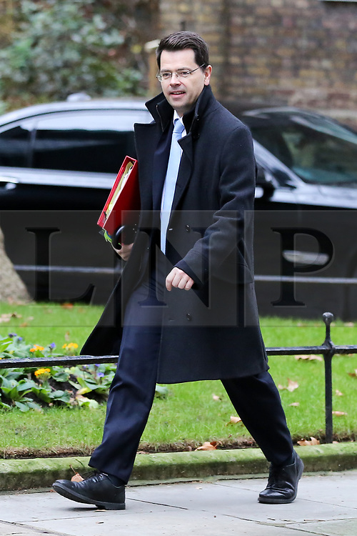 """© Licensed to London News Pictures. 18/12/2018. London, UK. James Brokenshire - Secretary of State for Housing Communities and Local Government  arrives in Downing Street for the weekly Cabinet meeting. The Cabinet will discuss the preparations for a """"No Deal"""" Brexit. Photo credit: Dinendra Haria/LNP"""