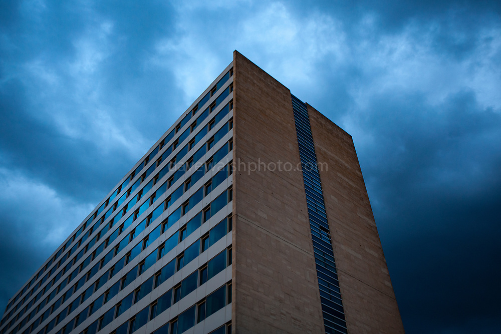 Storm clouds over office building, Brussels, Belgium, 2012