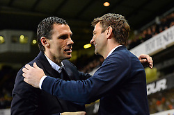 Sunderland's manager Gus Poyet and Tottenham's manager Tim Sherwood  - Photo mandatory by-line: Mitchell Gunn/JMP - Tel: Mobile: 07966 386802 07/04/2014 - SPORT - FOOTBALL - White Hart Lane - London - Tottenham Hotspur v Sunderland - Premier League