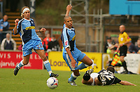 Photo: Frances Leader.<br />Wycombe Wanderers v Chester City. Coca Cola League 2.<br />01/10/2005.<br /><br />Wycombe's Nathan Tyson is tackled by Chester's Scott Niven.