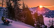 Tim Hoff on Dawn Patrol. Sunrise over Gros Ventre mountains and Gros peak.