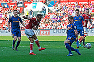 Bobby Reid (14) of Bristol City shoots at goal during the EFL Sky Bet Championship match between Bristol City and Hull City at Ashton Gate, Bristol, England on 21 April 2018. Picture by Graham Hunt.