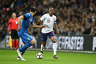 England forward Raheem Sterling (10) and Italy forward Davide Zappacosta (21) during the Friendly match between England and Italy at Wembley Stadium, London, England on 27 March 2018. Picture by Toyin Oshodi.