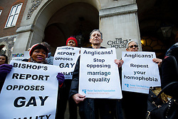 © Licensed to London News Pictures. 15/02/2017. London, UK. LGBT Campaigners, including Peter Tatchall, hold a protest vigil outside the General Synod of the Church of England, where same sex marriage is due to be debated. Photo credit: Tolga Akmen/LNP
