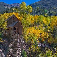 The Old Mill at the ghost town of Crystal , Colorado, was built in 1893 wth a horizontal waterwheel which generated compressed air for miners in the nearby silver mines.
