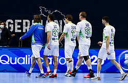 Dean Bombac of Slovenia, Dragan Gajic of Slovenia, Jure Dolenec of Slovenia, Matej Gaber of Slovenia and Blaz Janc of Slovenia after the handball match between National Teams of Germany and Slovenia at Day 2 of IHF Men's Tokyo Olympic  Qualification tournament, on March 13, 2021 in Max-Schmeling-Halle, Berlin, Germany. Photo by Vid Ponikvar / Sportida