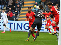 Football - 2019 / 2020 Sky Bet (EFL) Championship - Swansea City vs. Wigan Athletic<br /> <br /> Freddie Woodman of Swansea City & Joe Garner of Wigan Athletic collide in the 1st minute, at the Liberty Stadium.<br /> <br /> COLORSPORT/WINSTON BYNORTH
