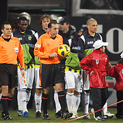 Referee's Cuneyt CAKIR (C) during their Turkish Superleague Derby match Besiktas between Fenerbahce at the Inonu Stadium at Dolmabahce in Istanbul Turkey on Sunday, 20 February 2011. Photo by TURKPIX