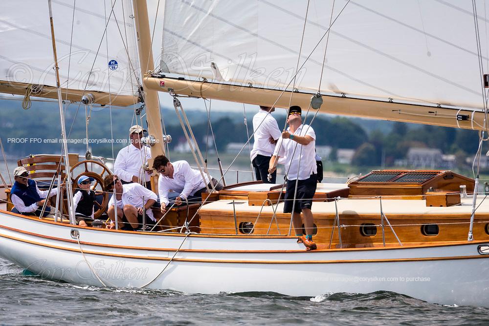 Arrluuk sailing in the Panerai Herreshoff Classic Yacht Regatta.