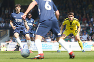 Southend United defender Rob Kiernan (15) and Burton Albion midfielder Ben Fox (12) during the EFL Sky Bet League 1 match between Southend United and Burton Albion at Roots Hall, Southend, England on 22 April 2019.