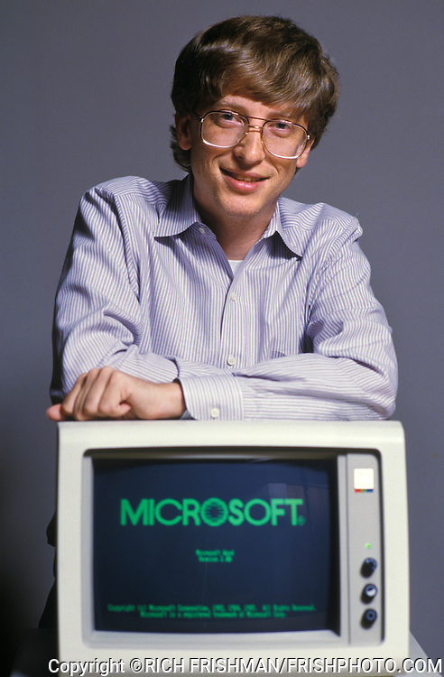 Photograph of a young Bill Gates, Microsoft co-founder and chairman, with Microsoft Word version 2.0. .June 2, 1985.Redmond WA.©RICH FRISHMAN.