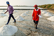 "28 MARCH 2014 - NA KHOK, SAMUT SAKHON, THAILAND: Salt farm managers inventory piles of salt in an evaporation pond in Samut Sakhon province. Thai salt farmers south of Bangkok are experiencing a better than usual year this year because of the drought gripping Thailand. Some salt farmers say they could get an extra month of salt collection out of their fields because it has rained so little through the current dry season. Salt is normally collected from late February through May. Fields are flooded with sea water and salt is collected as the water evaporates. Last year, the salt season was shortened by more than a month because of unseasonable rains. The Thai government has warned farmers and consumers that 2014 may be a record dry year because an expected ""El Nino"" weather pattern will block rain in mainland Southeast Asia. Salt has traditionally been harvested in tidal basins along the coast southwest of Bangkok but industrial development in the area has reduced the amount of land available for commercial salt production and now salt is mainly harvested in a small parts of Samut Songkhram and Samut Sakhon provinces.    PHOTO BY JACK KURTZ"