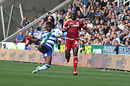 Reading midfielder Aaron Tshibola and Middlesbrough midfielder Albert Adomah during the Sky Bet Championship match between Reading and Middlesbrough at the Madejski Stadium, Reading, England on 3 October 2015. Photo by Jemma Phillips.