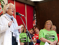 Patricia King general secretary of the Irish Congress of Trade Unions, speaking at a protest over working conditions, including low-hour contracts, at a rally outside the head office of the Dunnes Stores in Georges Street, Dublin on Saturday 6th June 2015.