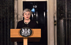 Prime Minister Theresa May makes a statement in Downing Street, London following the terrorist incident in Westminster where four people, including one police officer and the perpetrator, died.