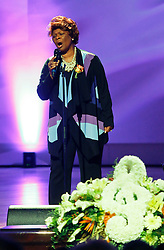 20 November 2015. Orpheum Theater, New Orleans, Louisiana. <br /> Memorial service for musician Allen Toussaint. <br /> Irma Thomas performs on stage.<br /> Photo; Charlie Varley/varleypix.com