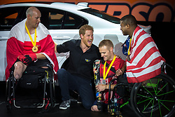 Prince Harry laughs with medalists in indoor rowing at the Invictus Games in Toronto, ON, Canada, on Tuesday, Sept. 26, 2017. Photo by Chris Donovan/CP/ABACAPRESS.COM
